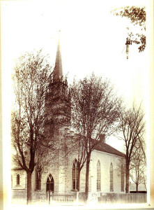 The original St. Andrews Church, Drummond Street at Craig Street, from 1833 to 1898; expanded in 1898 and burned in 1923; photo taken late 1800s.