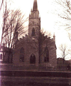 The original St. Andrews Church, Drummond Street at Craig Street, from 1833-1898, expanded in 1898 and burned in 1923.