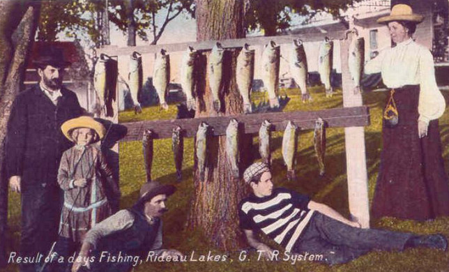"""A fishing party on the Rideau; location unknown - """"G. T. R. System""""."""